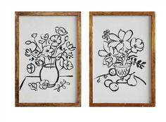 14L x 20H Wood Framed Canvas Wall Décor w/ Vase, Black/White, 2 Styles ©