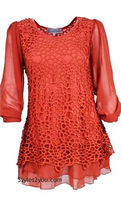 AP Opal Antique Skirted Sleeved Blouse In Rust