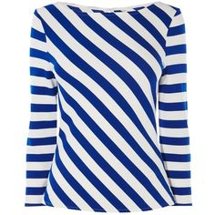 Karen Millen Fashion Ponte Roma Stripe Top, Blue/Multi ($69) ❤ liked on Polyvore featuring tops, boat neck striped top, boat neck 3 4 sleeve top, print top, fitted tops and keyhole top