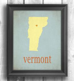 Map Art, Giclee Print, Typographic Decor, Vermont Map, State Poster, Letterpress Style, typography map print 11x14 - customizable