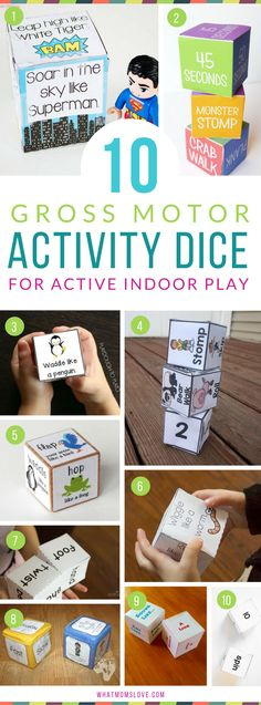 Gross Motor Activity Dice For Kids | Free Printable Movement Dice perfect for Brain Breaks, Boredom Busters and staying active indoors | Fun and physical game to get energy out inside - for the full list of Active Indoor Games and Activities For Kids see whatmomslove.com