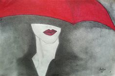 Lady With Red Umbrella Pencil Drawing With Red by EiffelTowerShop, $30.00