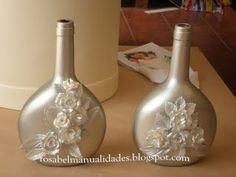 Rosabel manualidades: Botellas de cristal decoradas