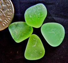 Four luscious pieces of sea glass found on beaches in Hawaii! Vaseline glass from the depression era, they GLOW under a black light - UV glass. Driftwood Beach, Green Beach, Vaseline Glass, Beach Stones, Sea Glass Jewelry, Rock Stars, Sea Shells, Beaches, Depression