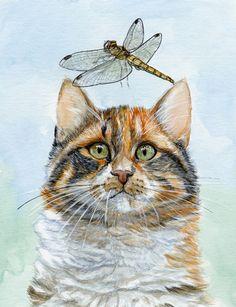 S-Schukina. Dragonfly and calico kitty. #Art