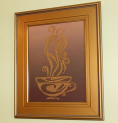 11x14 Framed Cup of Coffee embroidered with beads. | Original Art by Crafty Coffee, via Etsy.