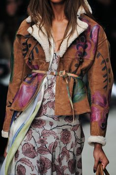 Burberry Fall 2014. Inspiration for hand painted leather jacket, belt, or handbag! Fun project, signature personal style  :-)