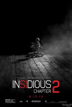 'Insidious Chapter 2' Directed by James Wan, Written by Leigh Whannell. Saw this with a few other students. Never saw the first one. This was cheesey with a bunch of holes in the story, but good editing and sound design made me jump a few times.