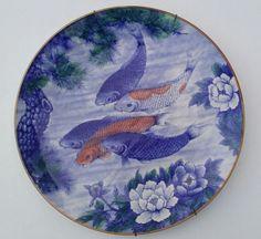 "Antique/Vintage Oriental Hand Painted China Plate/Bowl Koi Fish 12"" Diameter"