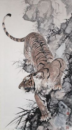 Chinese, Japanese and Southeast Asian art from Petrie Rogers Asian Fine Art and Antiques, specialist since Tiger Drawing, Tiger Painting, Large Painting, Chinese Painting, Chinese Art, Japanese Tiger Art, Japanese Tiger Tattoo, Japanese Prints, Big Cats Art
