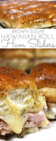 Brown Sugar Hawaiian Roll Ham Sliders w/VT Cheddar! Sweet King's Hawaiian rolls are layered with sliced ham and VT cheddar cheese. Then brushed with a sweet and spicy brown sugar glaze and baked. Hawaiian Roll Sandwiches, Rolled Sandwiches, Slider Sandwiches, Ham And Cheese Sliders Hawaiian, Kings Hawaiin Sliders, Sliders With Hawaiian Rolls, Tailgate Sandwiches, Breakfast Slider, Best Breakfast