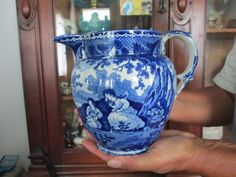 Antique Pre 1850  Blue & White STAFFORDSHIRE - WATER / MILK PITCHER  MINT  NR #Americana #UNKNOWN