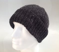 Mens Graphite Grey 25% Wool Aran Beanie Hat   Hand by sewmoira