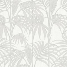 Honolulu Wallpaper in White Ice by Julien MacDonald for Graham & Brown