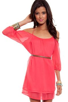 Amerie Off Shoulder Dress in Coral