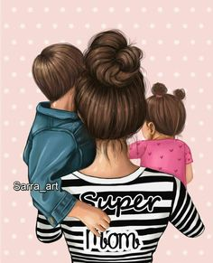 Mother And Daughter Drawing, Mother And Child Painting, Mother Daughter Quotes, Mother Art, Mom Daughter, Girly M, Cute Couple Art, Cute Girl Drawing, Fashion Wall Art