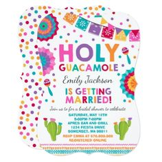 Fiesta Bridal Shower Invitation Holy Guacamole - invitations custom unique diy personalize occasions