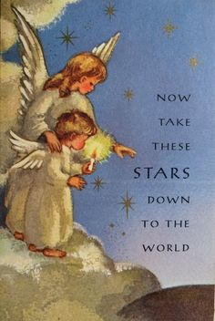 1960s Christmas card angels