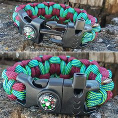 Emergency Fire Starter Survival Bracelet Paracord Heart Weave with Fire Cord, Flint & Striker, Compass, Whistle by BrodsParacord on Etsy