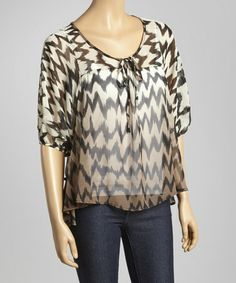 Look what I found on #zulily! Black & Taupe Ikat Tie Top by Chris & Carol #zulilyfinds