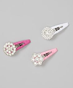 Love this Hot Pink, White & Pink Rhinestone Clip Set by Charlotte Rose Couture on #zulily! #zulilyfinds
