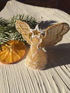 Embroidery christmastree ornament gold angel - himzett arany színü angyal karácsonyfadísz