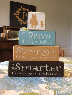 Classic Winnie the Pooh nursery decor painted blocks piglet A.A. Milne classic pooh disney stacking blocks baby shower centerpiece by AppleJackDesign on Etsy https://www.etsy.com/listing/206543097/classic-winnie-the-pooh-nursery-decor