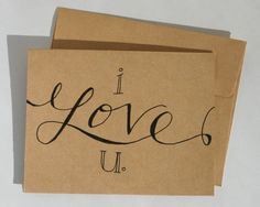 Valentine's Day card hand lettered  I love you by drawnbykatiej on etsy