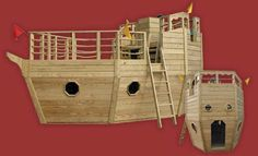 Outdoor Wooden Ship Playset for Children - like that you can see how the panels form the ship. This has potential but not as high Kids Outdoor Play Equipment, Wooden Ship, Backyard Playground, Outdoor Fun, Outdoor Ideas, Play Houses, Tree Houses, Kid Beds, Woodworking Projects