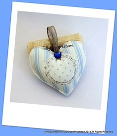 Blue and White Stripe Cotton Fabric Hanging Heart. £4.95