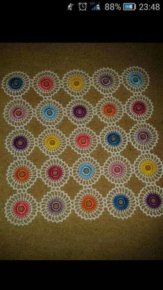 How to Crochet Flower, Make a Granny Square and Join Them Crochet Motif Patterns, Crochet Blocks, Crochet Borders, Tatting Patterns, Lace Patterns, Crochet Tree, Crochet Doilies, Crochet Flowers, Crochet Mandela