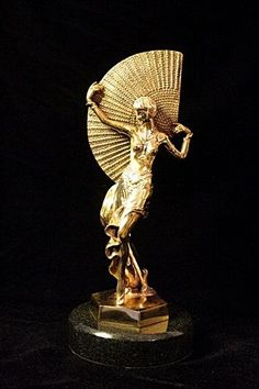 Original Limited Edition   Gold Layered Bronze   Art Deco Chiparus Sculpture -Fan Dancer