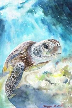 Turtle watercolor - sea turtle watercolor print of the original painting cute art animals family water sea tortoise Watercolor Animals, Watercolor Print, Watercolor Paintings, Original Paintings, Ebay Paintings, Canvas Art Prints, Painting Prints, Painting Art, Sea Turtle Painting