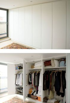 With DIY fitted wardrobes and custom built-ins you can choose the type of storage solutions you wa. Bedroom Wardrobe, Wardrobe Doors, Wardrobe Closet, Closet Doors, Home Bedroom, Shoe Closet, Build In Wardrobe, Hanging Wardrobe, White Wardrobe