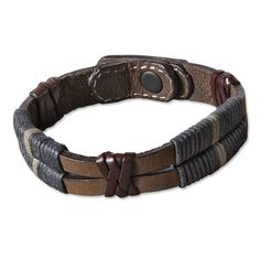 """Two lengths of oiled nubuck leather are joined together with thin strips of genuine latigo leather and tightly wound strands of waxed-cotton cord. Snap closure. Men's leather and cord bracelet in brown multi. Imported.  <br/>Sizes: M(8¼""""L), L(8¾""""L)."""