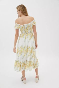 Kiss The Sky Versaille Floral Maxi Dress | Urban Outfitters Sky Online, Floral Print Maxi Dress, Urban Dresses, Ruffle Trim, Smocking, Off The Shoulder, Urban Outfitters, Bodice, Print Patterns