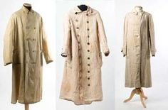 Summer coats or dusters    Usually of natural linen, these cover-ups were worn by all when travelling by open carriage or car in the late 19th and early 20th century.