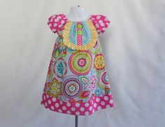 Girl's Infants Toddlers Peasant Dress with Bib Front   by Livanni