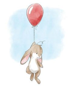 Little Bunny and Balloon Watercolor nursery illustration of a brown bunny hanging onto a red balloon. Little Bunny and Balloon Wall Art by Circle Kids is an adorable way to add art to your nursery. Find more adorable animal art at Great BIG Canvas. Bunny Painting, Bunny Drawing, Bunny Art, Nursery Drawings, Nursery Wall Art, Paintings For Nursery, Bunny Nursery, Baby Room Art, Red Balloon
