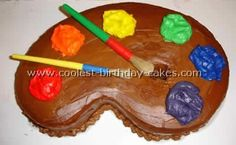 "Coolest Homemade Kid Birthday Cake Ideas and Photos ""maybe if turning 9 use a 9 cake pan to use as the palette""! Art Birthday Cake, Artist Birthday Party, Birthday Ideas, 7th Birthday, Chocolates, Artist Cake, Pull Apart Cupcakes, Cake Shapes, Colorful Cakes"
