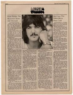 Gram Parsons Byrds article/obituary 1973