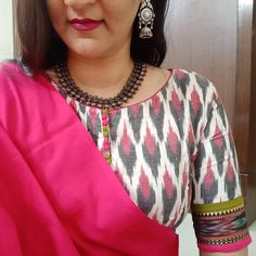 Fully stitched ikkat blouse with patchwork of pochampally border on sleeves, and detailing of potli buttons in front.  For orders and…