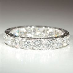 3.8ct. Vintage French Retro Diamond Eternity Ring In Platinum