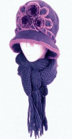 Womens 2-piece Knitted Bucket Scarf and Hat Set with Faux Fur Flower Accent ( 5 Colors ),Sale: $16.99