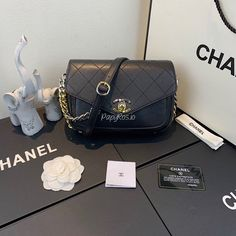 Chanel Envelope-Shaped Flap Bag With Bi-color Hardware AS0413 Black