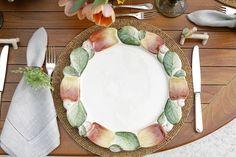 Mesa com a louça Caju da vestindo a Mesa para um almoço no jardim!