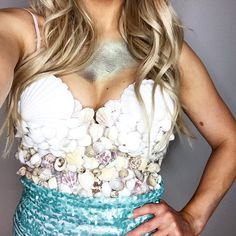 DIY Mermaid Costume // Fish scales make-up // Shell bra top