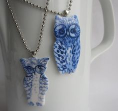 Owl  necklace  Hand painted blue and white by HarrietDamave, $45.00