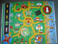 My siblings and I had the best car play mat growing up. My maternal grandmother made it for us out of some canvas-type material. She drew on. Applique Fabric, Applique Patterns, Car Play Mats, Custom Mats, Felt Quiet Books, Lap Quilts, Felt Dolls, Diy Toys, Gifts For Boys