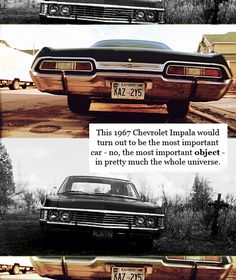1967 Chevy Impala... I pretty much hate the impala, but the 1967 will always have a special place in my mind thanks to Supernatural. I absolutely love this car.